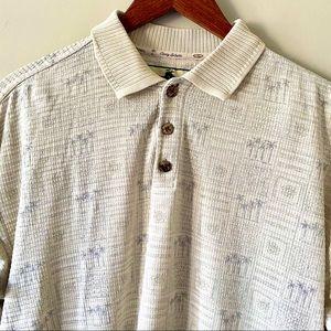 Tommy Bahama 70% silk palm tree polo shirt